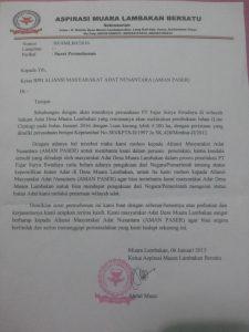 Surat dari Warga Kampung Lambakan kepada Pengurus AMAN Paser