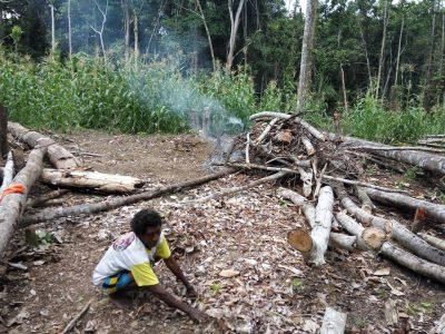 Ibu Fredia Ligit Lagi membersihan Kebun  Dibakar dijadikan kompos